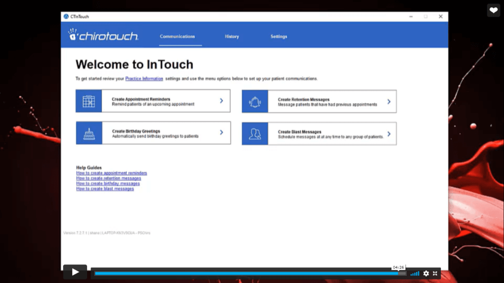 Welcome to Chirotouch screen