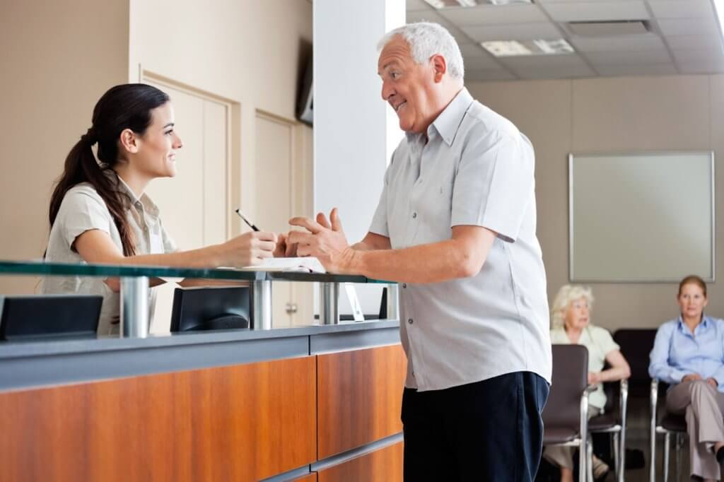 Male Patient with Female Receptionist